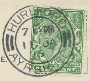 2463-SCOTTISH-VILLAGE-POSTMARKS-HURLFORD-AYRSHIRE-extremely-rare-superb-1917