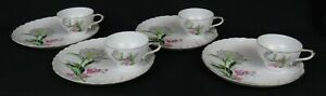 Vintage-Ucagco-China-Snack-Plates-amp-Cups-Set-of-4-Floral-w-Gold-Trim-Excellent