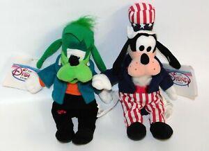 Lot of 2 Disney Store Goofy Beanie Plush: Goofenstein (Frankenstein) & Uncle Sam