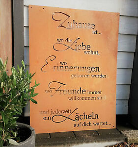 edelrost garten schild metall dekoschild tafel deko zuhause liebe gedichttafel ebay. Black Bedroom Furniture Sets. Home Design Ideas
