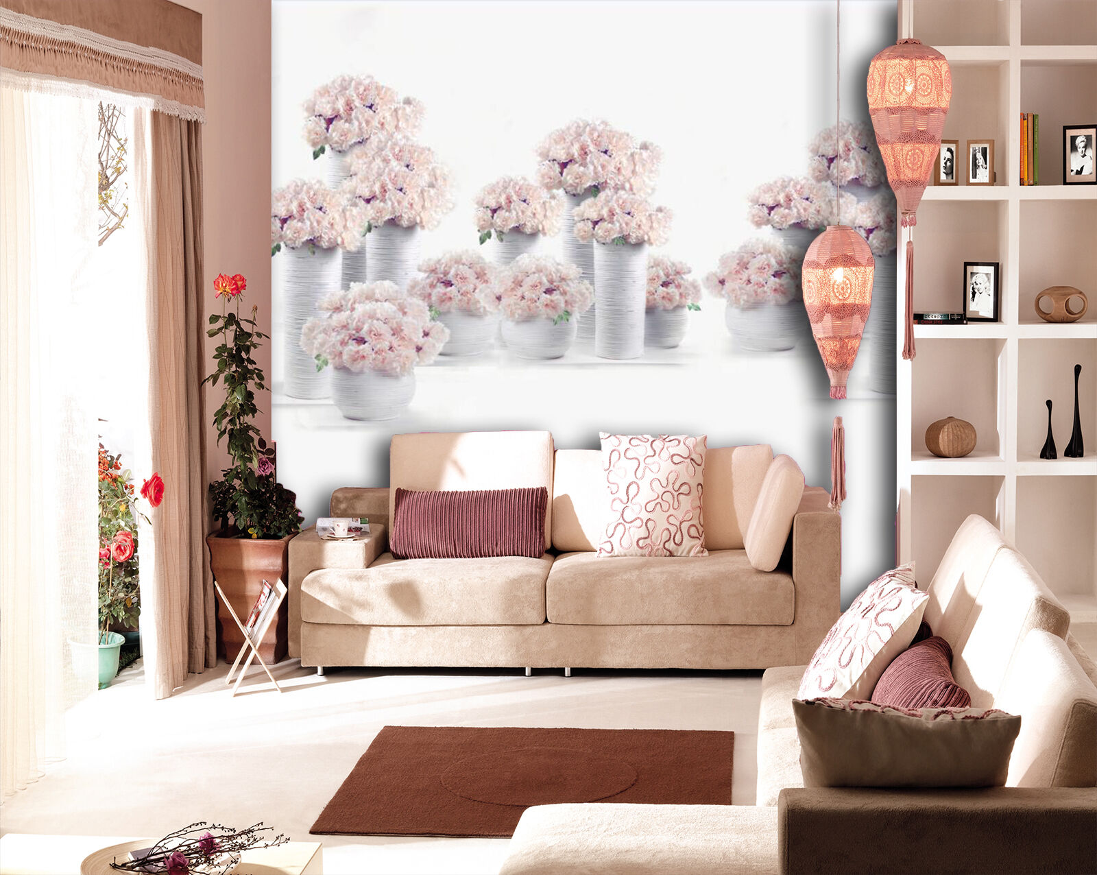 3D Flower vase picture Wall Paper Wall Print Decal Wall Deco Indoor wall Mural