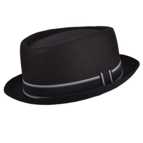 Unisex Mens Ladies Pork Pie Cotton Blend Porkpie Trilby Hat With Stripey Band