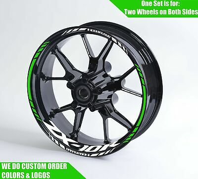 KETABAO 17 inch Rim Stickers Wheel Decals For Kawasaki ZX-10R ZX-10RR ZX-6R ZX-6RR 636 Z900 Z1000 Z650 Ninja 400 Green