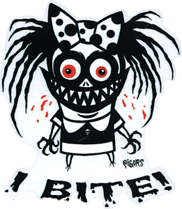 I-Bite-STICKER-Decal-Funky-Bow-Girl-Ghoul-Eric-Pigors-PG60