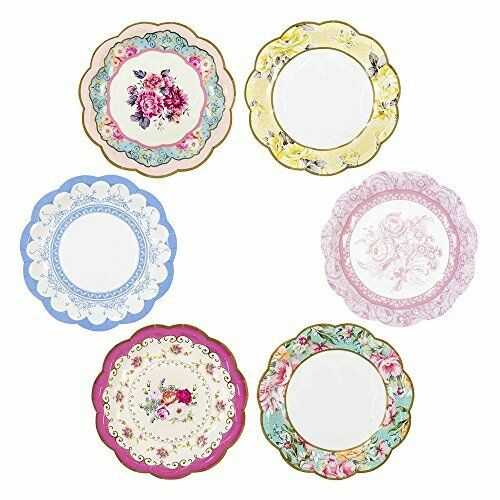 Talking Tables Truly Scrumptious Vintage Floral Small Paper Plates for Birthday,