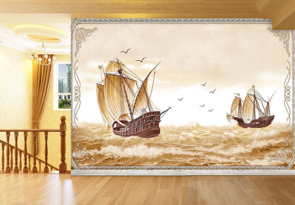 3D Sailboats Ocean Ocean Ocean 87 Wall Paper Murals Wall Print Wall Wallpaper Mural AU Kyra aa4973