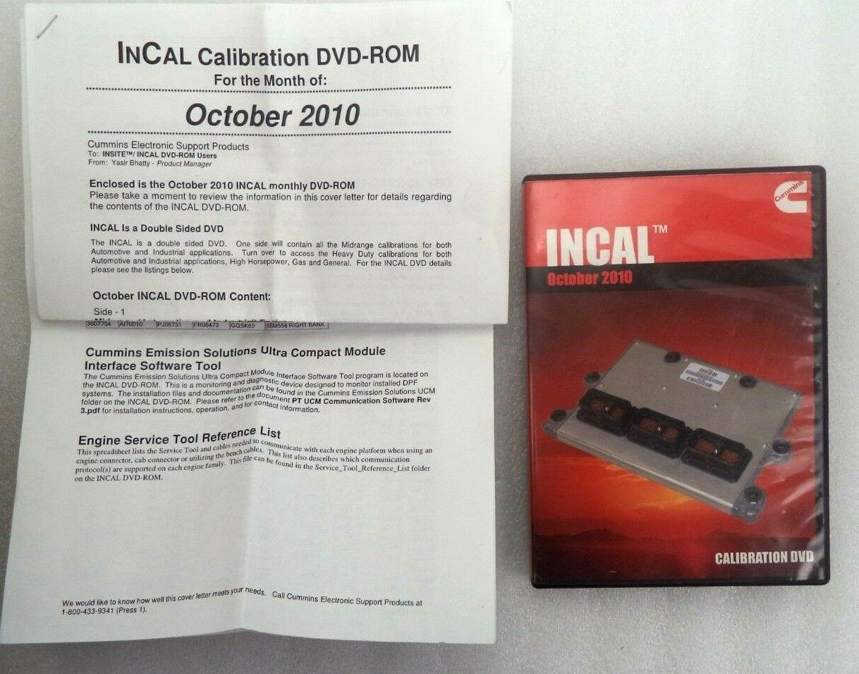 Cummins Ins Incal TM October 2010 Calibration DVD 3886398
