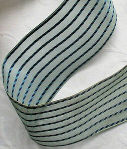 Vin. French Ribbon Gauze Like Back w/Tailored Navy Blue Rope Like Stripe Rayon