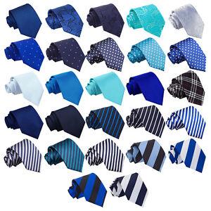 DQT-Bleu-Homme-Cravate-Solid-Plain-Ecossais-a-Motifs-Floral-Paisley-Polka-Dot-Tartan