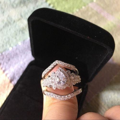 3 Pcs 14K White gold Over Pear Cut Diamond Wedding Bridal Engagement Ring Sets