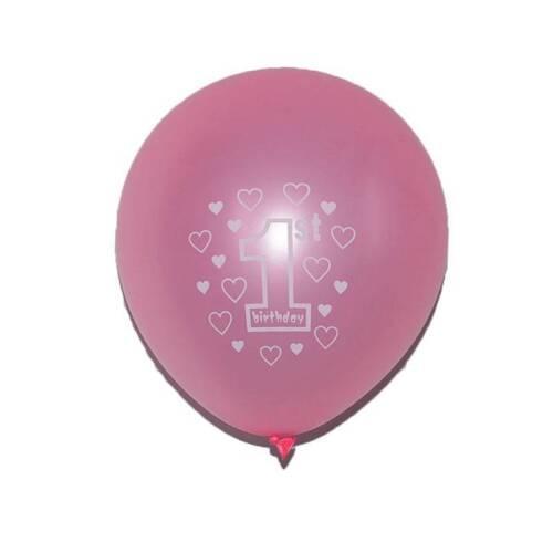 10Pcs Baby First Happy Birthday Latex Ballon Blue/&Pink 1st Birthday Balloons