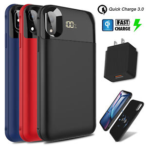 cheaper 05dfb 0cdec Details about For iPhone XR/XS Max/X Qi Wireless Battery Case Power Bank +  QC 3.0 Fast Charger