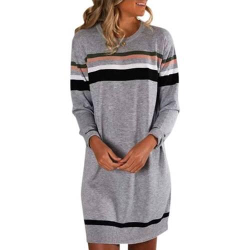 Damen Gestreift Pullikleid Pulloverkleid Warm Jumper Kleid Minikleid Longtop
