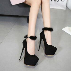 women ankle strap platform very high heels round toe party