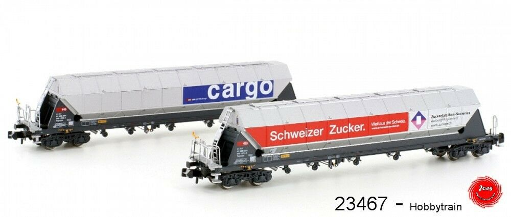 Hobbytrain 23467-vagones 2er set SBB tagnppss silowagen  azúcar transporte