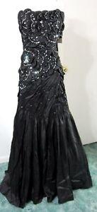 Black-S-FORMAL-GOWN-Dress-Pageant-Ball-Avant-Garde-Mermaid-Beaded-Train-NWT