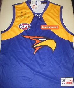 on sale a9bb5 8c3f0 Details about West Coast Eagles- Dean Cox signed WCE Away Jersey/Jumper +  COA