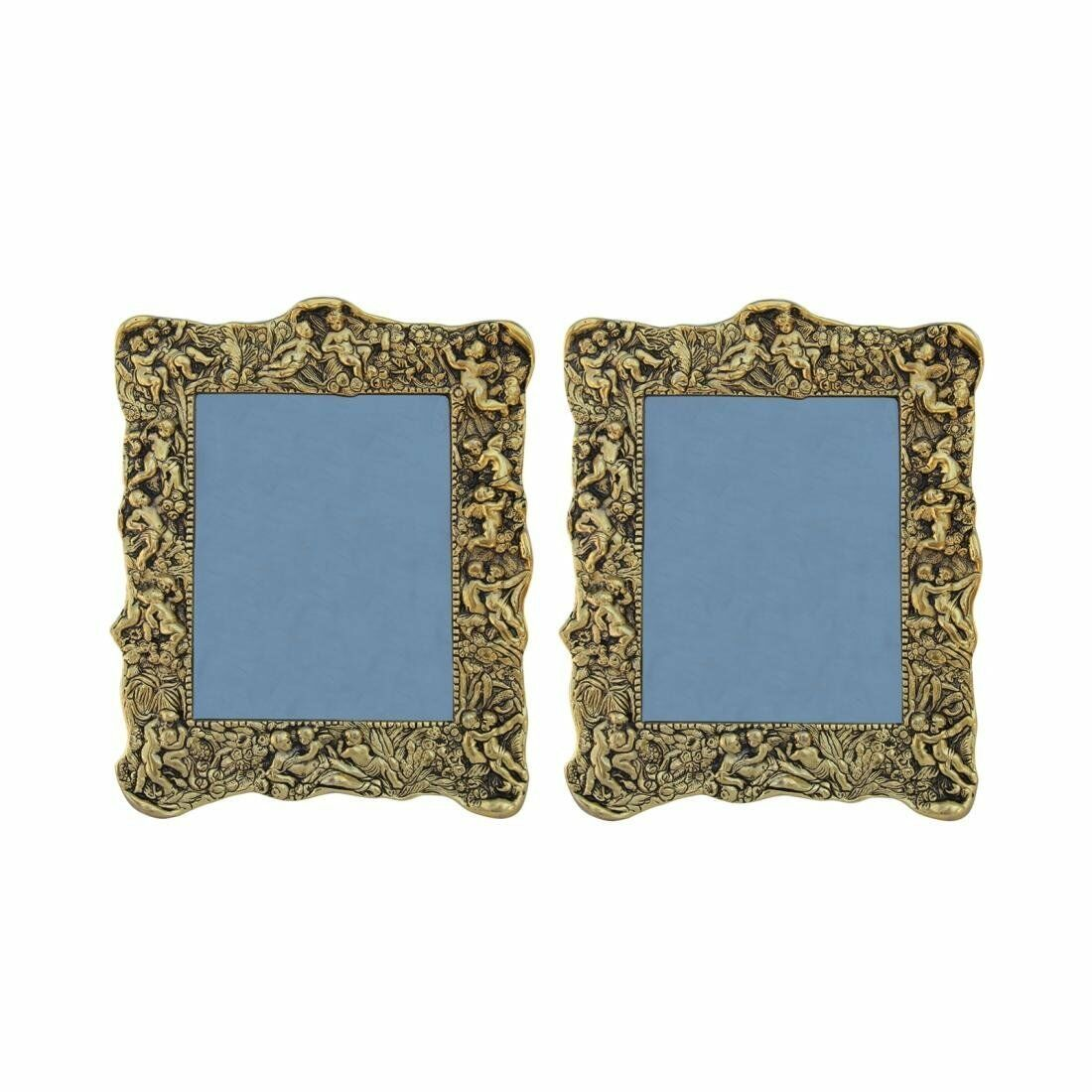 Photo Frame Pair Antique Golden with Intricate Carving in Metal by Paradise
