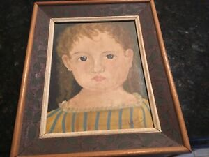 Folk Art Child/Girl portrait oil on canvas stretched & Framed signed  Krantz