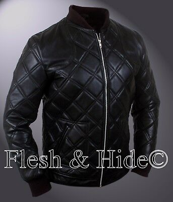 David Beckham Black Quilted Details Motorcycle Jacket