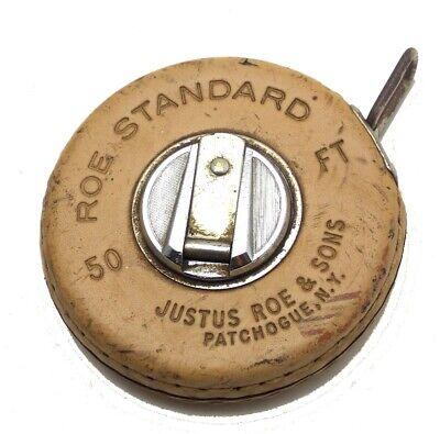 Vintage Justus Roe /& Sons 50ft Metal Tape Measure