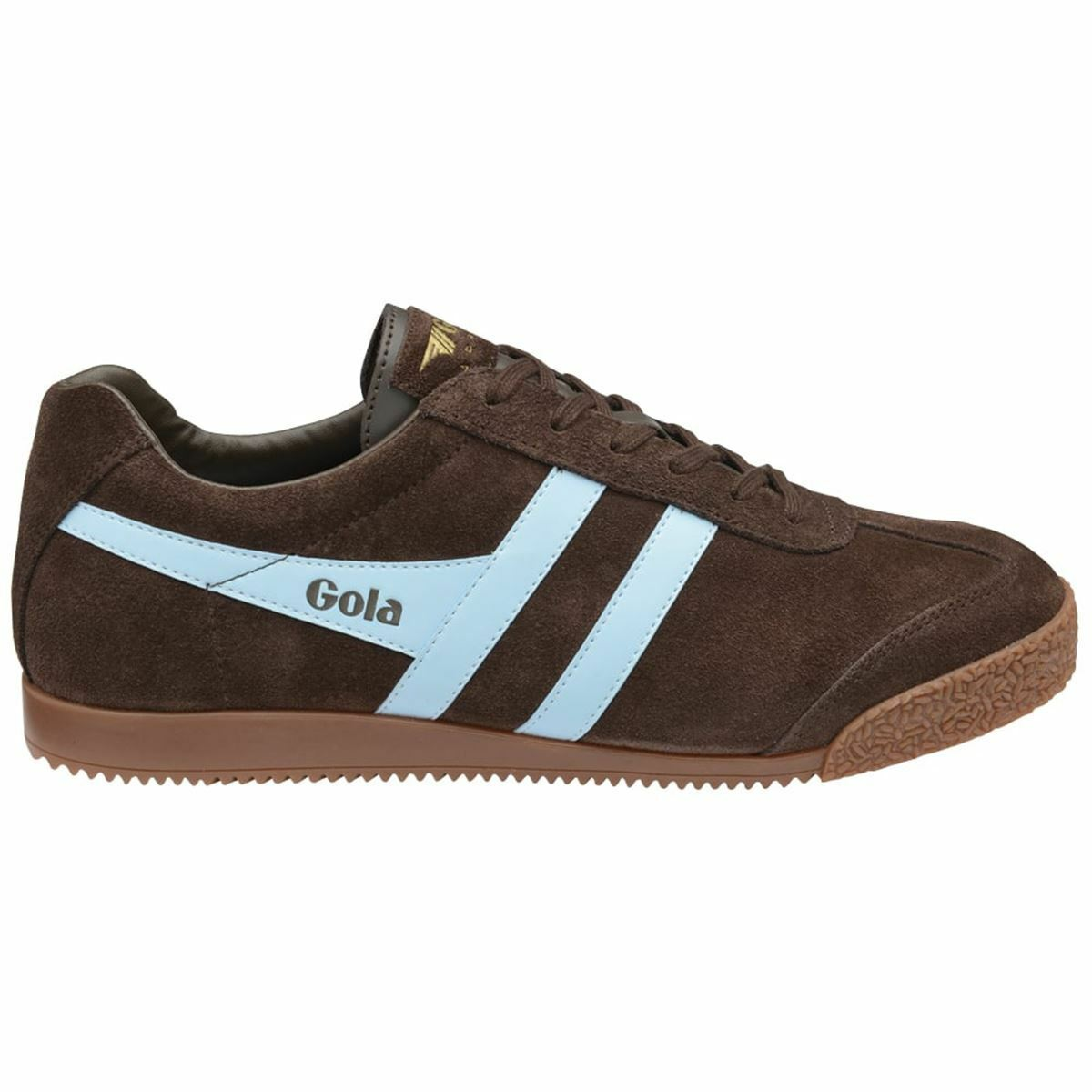 Gola Harrier dark marrón mens Suede Classic low-top retro zapatillas Trainers