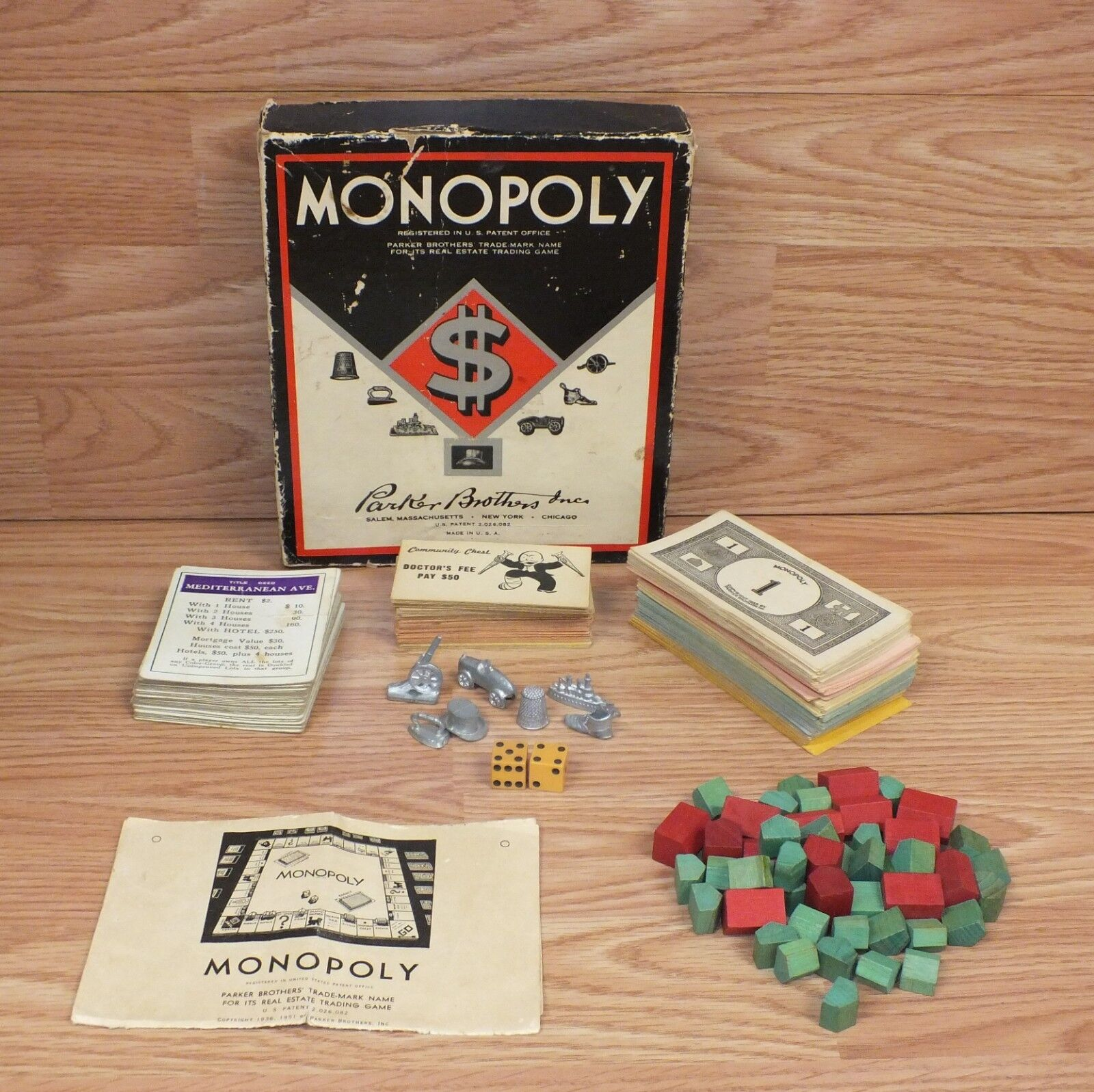 servicio de primera clase Genuine Vintage Parker Brojohers 1936, 1951 Collectible Monopoly Monopoly Monopoly Board Juego READ  la mejor selección de