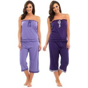 d6a6bb4bf7 Ladies Gorgeous Bandeau Top   Crop Trim Pants Lounge Pyjamas Set ...