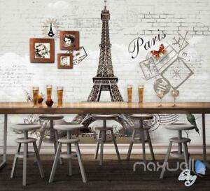 Image Is Loading 3D Retro Paris Tower Brick Wall Paper