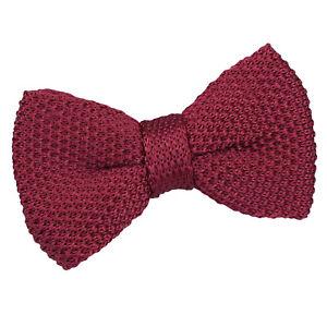 DQT-knit-knitted-Plain-Bordeaux-Decontracte-reglable-pre-attache-Garcons-039-s-Bow-Tie
