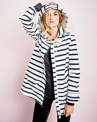 New £129 joules haven stripe raina waterproof jacket raincoat sz UK 10 12 14 16