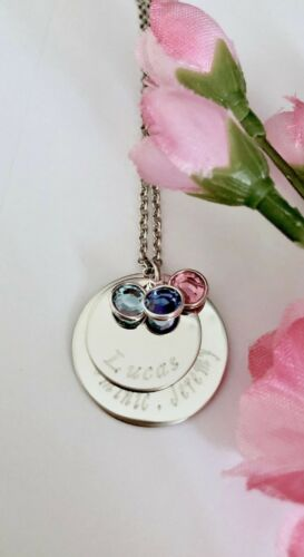 Personalized stainless steel two layers names mom Necklace w//crystal Gift