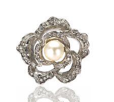 Luxury Rose Flower Wedding Bridal Prom Silver Ivory Pearl Brooch Pin BR350