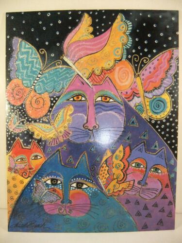 Laurel Burch Happy Birthday Card Glitter Glossy Deluxe Greeting Card Cats New
