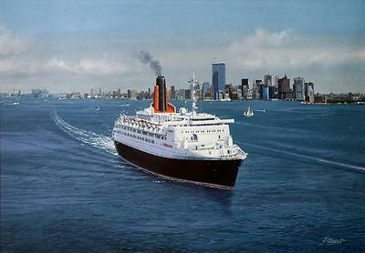 "14/"" Print QE2 Queen Elizabeth 2 Cunard Ocean Liner Marine Painting Art Print"