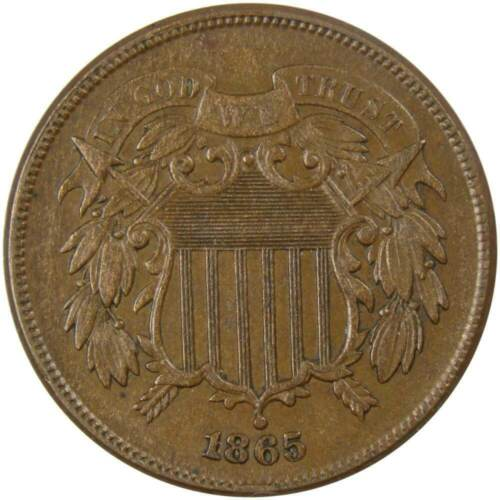 1865 Two Cent Piece XF EF Extremely Fine Bronze 2c US Type Coin Civil War Era