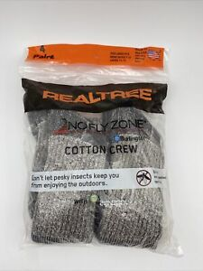 Realtree-No-Fly-Zone-Cotton-Crew-Socks-4-Pair-Size-Large-Insect-Repellent