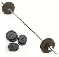15kg Barbell Weight Set With 6ft Spinlock Barbell Bar & Weight Discs, Cast Iron