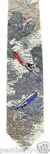Jet Setter Mens Necktie Airplane Planes Fly Map World Travel Gift Neck Tie New