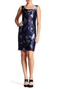 598-Lafayette-148-Rebecca-Metallic-Ink-Blue-Dress-Fitted-Sz-10-L