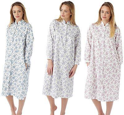 Sleepwear & Robes Ladies Marlon Light Weight Floral Quilted Button Front Gown Jacket Nightwear