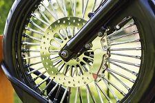 New 23 x 3.5 -48 Fat King Spoke Front Wheel Black Rim Single Disc Touring Bagger
