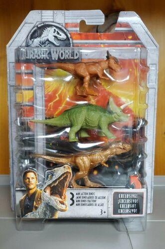 Jurassic World 3 Pack Mini Action Dinos Gold Tyrannosaurus Rex Stiggy tricerato