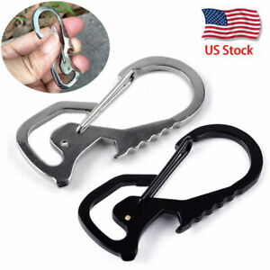 Stainless-Buckle-Carabiner-Keychain-Key-Ring-Clip-Hook-Bottle-Opener-Portable-US
