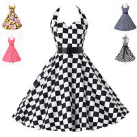 Vintage Retro Style Swing 50'S Pin Up Swing Check Evening Party Dress
