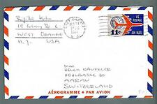 UNITED STATES - USA - Aerogramma - 1961 -  Da East Orange ad Aarau,Svizzera