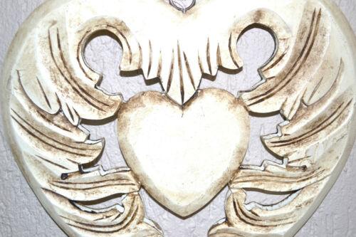 Großes Herz Holz Nostalgie creme FensterdekoTürkranz  35 cm Wand Deko