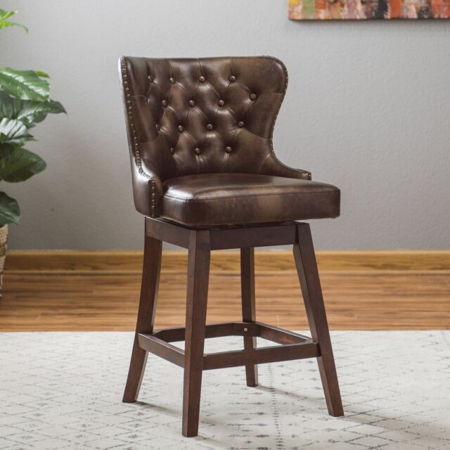 Outstanding Traditional Wingback Tufted Brown Leather 26 Seat Swivel Counter Stool W Back Ncnpc Chair Design For Home Ncnpcorg