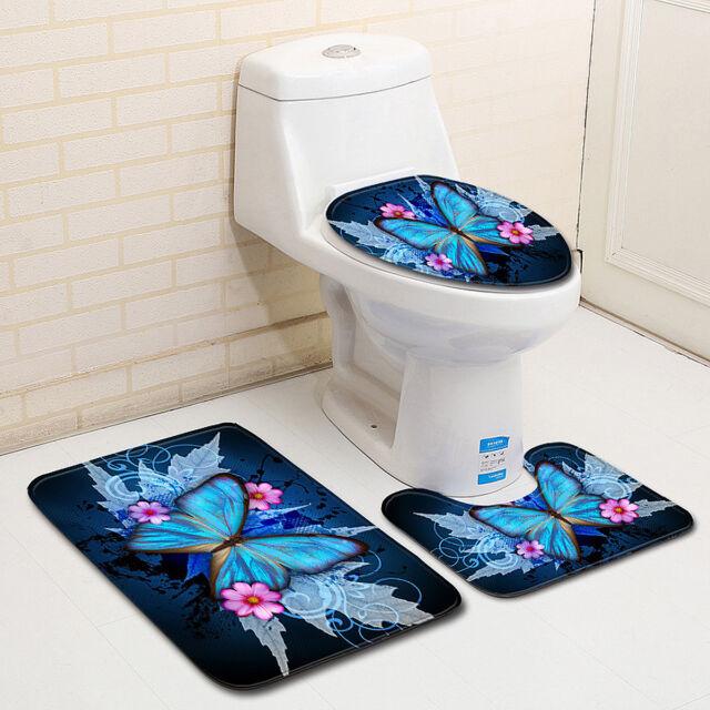 3Pcs Set Bathroom Non-Slip Butterfly Pedestal Rug + Lid Toilet Cover + Bath Mat