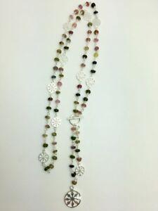 925-Sterling-Silver-Long-Necklace-Gemstones-Semi-Precious-Tourmaline-Disc-Lariat